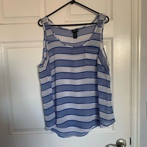Torrid brand tank top blue white strip size 1